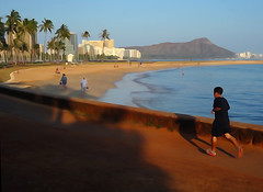 Diamond Head and Jogger (Steven W Lum) Tags: watercolor hawaii diamondhead honolulu runner jogger alamoanabeach