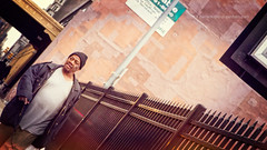 City Dynamics (from the hip) (Darren LoPrinzi) Tags: street man streets philadelphia vintage fence grit iron candid streetphotography angles gritty retro philly fromthehip