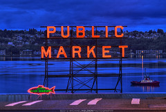 Pike Place Market: Pro Tips for natives and tourists alike! (Michael Holden) Tags: seattle sunrise downtown waterfront cloudy market scenic tourist tugboat pugetsound pikeplacemarket bluehour elliottbay pnw publicmarket michaelholden michaelholdencom