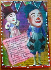 ATC send in the clowns 300513 NFT Made for monthly theme ATC group May theme circus/clowns (ladychiara) Tags: atc collage circus clowns cutandpaste