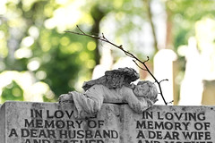 In Loving Memory (mclcbooks) Tags: london cemetery blackwhite headstone victorian gravestone selectivecolor highgatecemetery