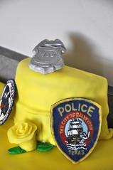 Chocolate GPD Police Patch Cake Topper (rikkitikitavi) Tags: rose yellow cake dessert police gpd crimescene retirement fingerprint fondant policebadge galvestonpolice policepatch galvestonpd
