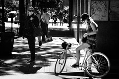 Pause (. Jianwei .) Tags: street city light urban girl bike vancouver mood candid sony gastown signal a55 jianwei kemily