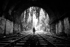 Paris, petite ceinture (flallier) Tags: paris pc butteschaumont railway chemindefer ceinture voieferrée tunnel bnw bw blackandwhite noiretblanc rails railroad silhouette