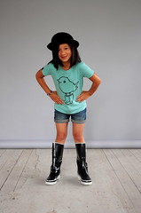 Chick in Boots by Wendie (pini piru) Tags: green kids screenprint boots tshirt chick tshirts tees organiccotton perfectfit heathergreen fairtradecotton fairwearfoundation