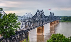 Vicksburg Mississippi River Bridges-2 (Creative Concept Studios) Tags: afternoon baton bridge cantilever city connection crescent crossing engineering gold golden greater highway industrial light louisiana mississippi muddy port railroad river road rouge ship shore sky span steel structure sun sunset traffic transport transportation twin two vicksburg water d800 nikon