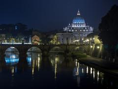 Roma, St. Peter Basilica (Sergio_MI) Tags: bridge panorama pope vatican roma lights cityscape nightshot basilica ponte vaticano cupola dome papa luci notturno cupolone