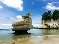 Mares Leg Cove, Hahei Beach, New Zealand (HHildebrand) Tags: new sea beach strand landscape meer minolta pacific cove leg zealand tropical romantic konica peninsula landschaft dimage a2 coromandel neuseeland mares hahei pazifik sdsee halbinsel