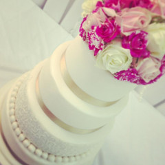 White Colour Burst Wedding Cake