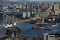 Brooklyn Bridge (Jack Alston) Tags: newyork ship manhattan brooklynbridge eastriver tanker hiltonmillenium