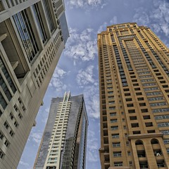 Three Towers Colour (dmjames58) Tags: colour architecture canon dubai day uae jumeirah jlt canonef24105mmf4lisusm niksoftware pwpartlycloudy
