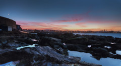282 of 365 -  Everyday a sunset dies (fearghal breathnach) Tags: sunset sea dublin moon reflection night canon photography photo rocks colours photos dusk wideangle ultrawide 1022 sandycove rockpools fortyfoot efs1022 fearghalbreathnach canonefs1022 pwpartlycloudy httpswwwfacebookcomfergphotos