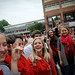 Students show their Pack pride while waiting in line at 'Wear Red, Get Fed,' a Homecoming week event.