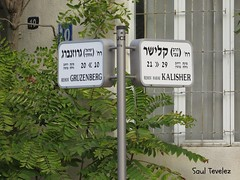 Calles - Streets (Saul Tevelez) Tags: city streets english canon poster israel telaviv ciudad language hebrew calles cartel ingls hebreo idioma canonpowershotsx50hs saultevelez