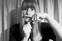 Gender Issues. (evilibby) Tags: blackandwhite bw silly hair beard blackwhite hands fingers drawings fringe moustache libby 365 draw bangs genderissues 365days 3656 365days6 theteleidoscope