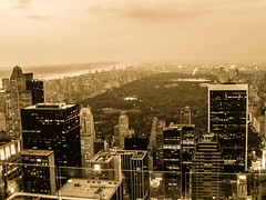 Central Park at night (DanielSan_05) Tags: nyc urban newyork sepia night clouds lights centralpark manhattan rockefeller
