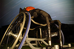 Peace before the battle = STOCKED & LOCKED (breming) Tags: pentax wheelchair flashlight startrails wheelchairbasketball pentaxk20d