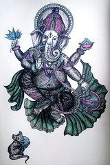 My version of Ganesha (Tanya Flyin) Tags: elephant color fairytale mouse sketch ganesha paint sketchbook fantasy draw wisdom legend gelpens myth deity wellbeing lotos colorpens