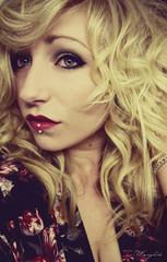 Valentine's Day (Margolite) Tags: flowers portrait woman selfportrait girl hair glamour valentine lips piercing blond blonde redlips
