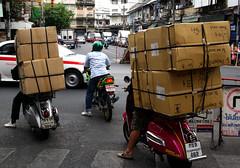 Street scenes. Bangkok. (Bernard Spragg) Tags: bangkok bangkoksightseeing scooters cargo asia streetscenes boxes freight motorbikes totallythailand freephotos