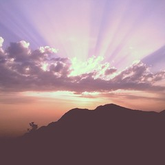 Going down #nature #sunset #light #sunrays #hills #clouds #silhouette #india (....Nishant Shah....) Tags: square squareformat 1977 iphoneography instagramapp uploaded:by=instagram