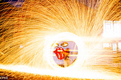 Fun With Fire (canihazit) Tags: city longexposure light urban abstract hot bus wool night danger dark circle outdoors fire photography lights photo crazy cool dangerous ally nikon colorado industrial factory glow dancing bright fireworks outdoor steel dumb spin flash dramatic orb firework dancer denver burning burn sphere spinning heat stupid glowing lightning lit hip sparks orbs amateur spark epic grind explode allyway throw explosive explosives circular throwing spherical firing rundown grinding donttrythisathome litup steelwool flamable donottrythisathome cpbb throwingsparks d5100 nikond5100