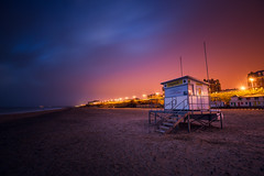 Lowestoft Lifeguard Hut 01/02/15 (Matthew Dartford) Tags: longexposure light sea orange cloud beach night coast suffolk haze sand glow open darkness deep lifeguard hut nighttime coastal cloudcover eastanglia softlight lowestoft softglow solflight