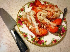 #Saturdaynight #Dinner #LobsterTails () Tags: apple dinner phone silverware telephone knife cellphone cell mobilephone lobster seafood gps posh expensive hummer kreeft finechina iphone oneida homard langosta bonechina lobstertails royalalbert  royalalbertchina oldcountryroses appleiphone iphone5 takenwithaniphone classicrose   boiledlobster stainlesssilverware iphonecapture backcamera iphone5capture