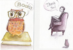 Custom Thank You Notes (Piedmont Fossil) Tags: art pencil cat watercolor anne sketch thankyou drawing note card owl