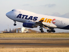 Atlas Air (cjf3) Tags: london airport air cargo atlas boeing takeoff rotating runway essex stansted 747 undercarriage