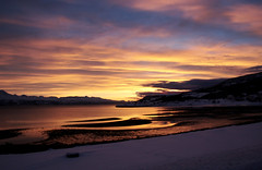 Norwegian winter sunset - on the from Narvik to Troms, near Bjerkvik (roomman) Tags: winter light sea white snow cold ice water beautiful weather norway night evening day snowy north atmosphere arctic northsea maritime fjord icy northern maritim 2015 troms