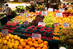 fruit (angieacappella) Tags: seattle morning fruit strawberries oranges fruitstand mangoes blueberries publicmarketcenter
