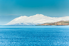 Mt Kaldbakur Eyjafjordur Iceland (Einar Schioth) Tags: sea summer sky snow ice nature water sunshine canon landscape coast photo iceland day outdoor ngc picture shore sland eyjafjordur nationalgeographic svalbardsstrond mtkaldbakur einarschioth