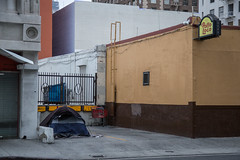 Camping in the Urban Wilderness (Alec C Miller) Tags: california street city urban color art digital buildings landscape photography los downtown cityscape angeles homeless fine tent