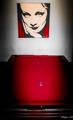 Billiards eyes (ericbaygon) Tags: red woman pool eyes nikon paint peinture yeux billiards billard poolroom dx nikonpassion d300s