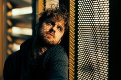 Stripes (David Pinzer) Tags: portrait people man shadowplay emotive lightplay