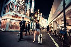 Down A Side Street Of Shibuya (Jon Siegel) Tags: street city girls people urban men boys japan night reflections walking japanese tokyo evening nikon women bars neon shadows shibuya restaurants glowing 28 14mm samyang samyang14mmf28