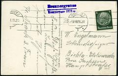 """Archiv E437 Ansichtskartenrckseite von der """"Brennergrenze"""", Italien, August 1938 (Hans-Michael Tappen) Tags: italien 1930s thirdreich 1938 brenner innsbruck ostmark briefmarke nazigermany drittesreich poststempel 1930er archivhansmichaeltappen brennergrenze"""