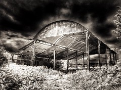 (Matt Brock ) Tags: blur monochrome barn dark landscape moody grain highcontrast devon ghostly vignette hdr atmospheric otterystmary eastdevon