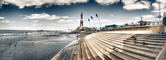 Blackpool (Preston Ashton) Tags: ocean uk sea england cloud tower beach water sunshine birds stairs coast pier day cloudy pano gulls steps sunny panoramic lancashire coastal blackpool prestonashton