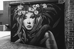 Street Art (Rich Presswood) Tags: street blackandwhite bw streetart girl monochrome architecture buildings graffiti mono availablelight sheffield agfascala olympuspenf adobelightroom vsco zuiko918mmf456 findtherangephotography