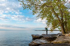 Getting the shot (Ryan Jeske) Tags: morning trees lake water clouds canon landscape rocks photographer lakeerie tripod uwa canonefs1022mm canon70d