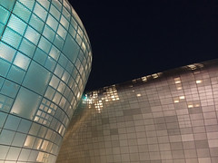 Dongdaemun Design Plaza (Evgeny Ermakov) Tags: city roof light urban abstract rooftop fashion architecture night asian lights design asia arch view steel south landmark korea structure architectural seoul kr curve southkorea futuristic editorialuse dongdaemundesignplaza