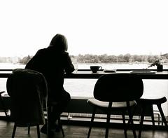 Looking thoughtfully out through the window [Explored 2016-05-29] (kaffealskare) Tags: blackandwhite window glass coffee stockholm kaffe glas fika djurgrden svartvit monokrom themephotography fotografiska temabild temafotografering fotosondag fotosndag fs160529