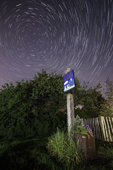 Lach Dennis Star Trail ([Nocturne]) Tags: longexposure nightphotography blue trees lightpainting nature grass canon stars bush lowlight trails nightphoto nocturne northstar startrail polestar noctography ledlenser 5dmkii lachdennis starstax