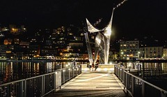 Libeskind. Life Electric (Alessandro Buschini) Tags: canon reflection light night monumento monument volta alessandro life electric libeskind lake como lago