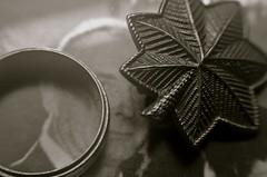 Gramp's Bling (MPnormaleye) Tags: macro monochrome lensbaby 35mm blackwhite leaf soft pin decoration jewelry ring nostalgia photograph utata utata:project=ip236