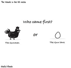 who came first (khalid Albaih) Tags: khalid albaih cartoons khartoon freedom speech press political       orlando shooter gun laws refugees welcome isis is islamic belgam make america great again madonna iraq syria sudan yemen listen gob