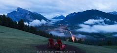 Banff Overview 坐看云起时 (Jaykhuang) Tags: sunset canada rain clouds banff rockymountains bluehour overview redchair vermillionlake lowfog banfftown jayhuangphotography 行到水穷处,坐看云起时 mtrundles surphermountain