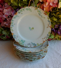 Antique Limoges Porcelain Salad Plates ~ Blue Flowers ~ Gold (Donna's Collectables) Tags: flowers blue gold salad antique plates porcelain ~ limoges